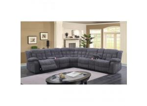 Sectional 3Pc w/Power Recliner Dark Grey