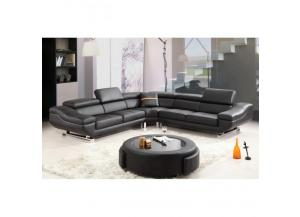 Best Quality  Sectional 3Pc Black/Leather